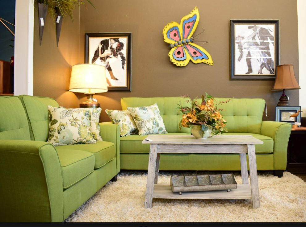 the recycled room consignment interiors green living room set