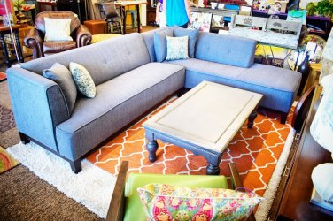 Grey Sectional and Mid Century Chair