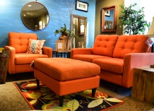 Orange Living Room Mid Century Set