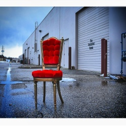 Red Vintage Chair in Alley