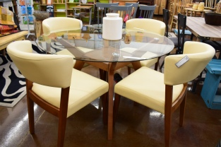 Creme Dining Chairs Mid Century Dining Table