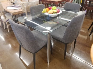 Square Glass Dining 4 mid mod chairs